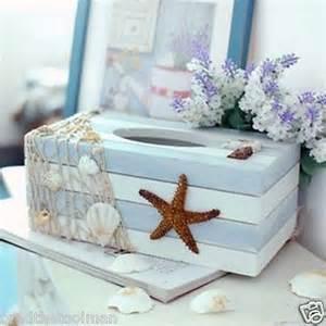 Sea Home Decor by Starfish Sea Shell Beach Ocean Style Wooden Tissue Box