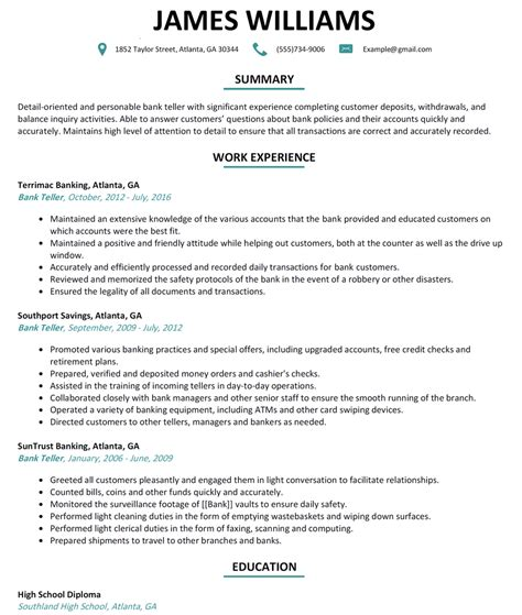 Bank Teller Resume Sle Resumelift Com Bank Teller Resume Template