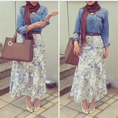 brown patterned maxi skirt hijab fashion patterned maxi skirt jeans jacket brown
