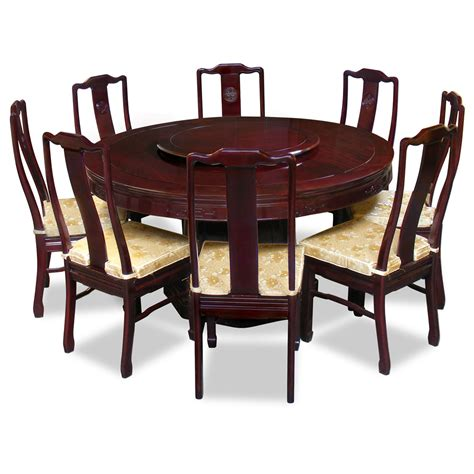 60in rosewood longevity design dining table with 8