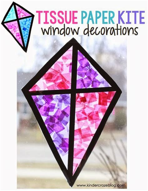 Tissue Paper Stained Glass Craft - stained glass kite decorations made from tissue paper