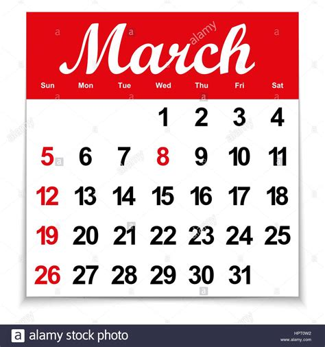 leaf calendar 2017 with the month of march days of the