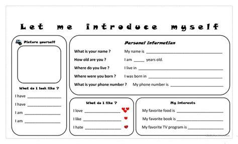 Let Me Introduce Myself Essay by Let Me Introduce Myself Worksheet Free Esl Printable Worksheets Made By Teachers