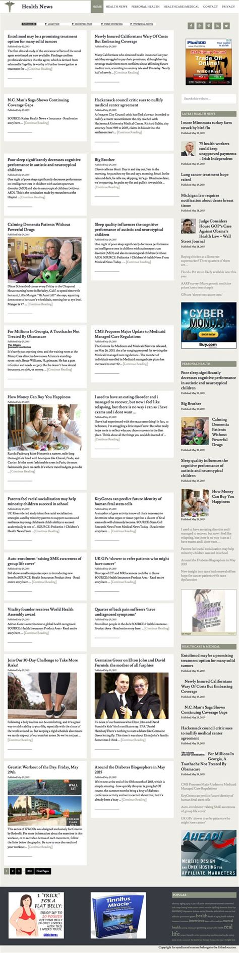 News Aggregator Template by Health News Aggregator Ahead Hosting