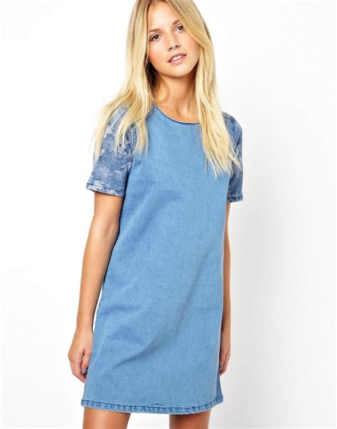 Dress Tunic 1 asos asos denim tunic dress with camo print panel at asos
