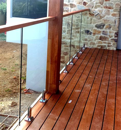Timber Handrail Glass Balustrades Attached To Timber Decking With