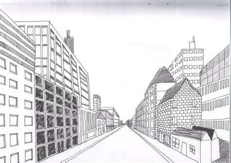 2 Point Perspective Drawing Cityscape by Cityscape Using One Point Perspective A Therapeutic