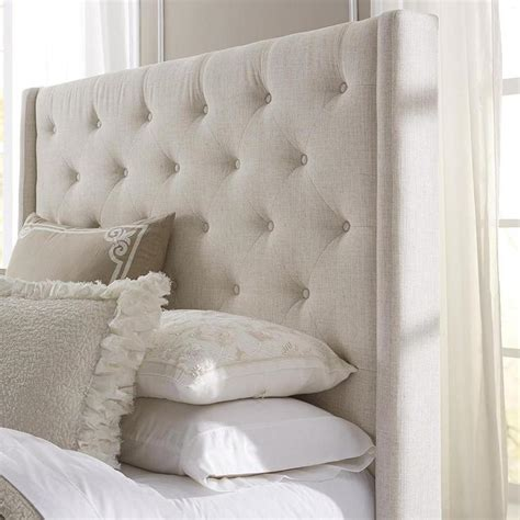 how to make a tufted headboard with buttons wingback button tufted cream upholstered headboard