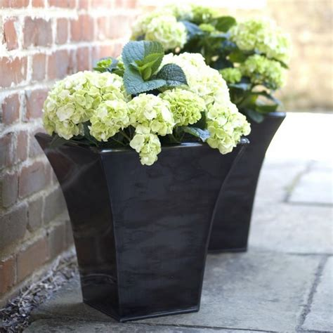 Black Garden Planters by Cadix Metal Flare Planter Black Garden