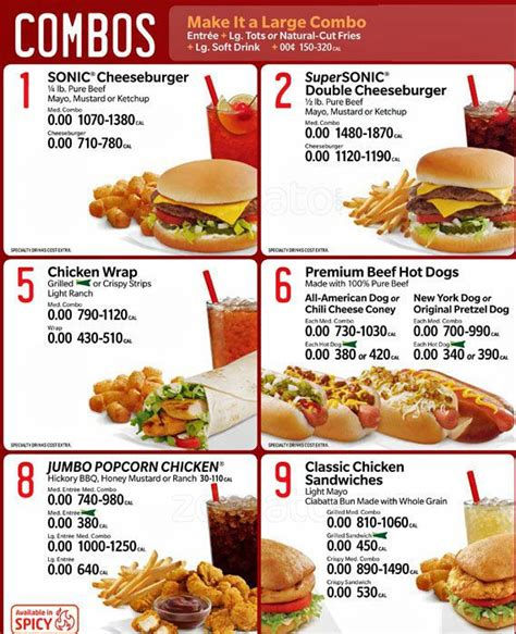 sonic food sonic drive in menu menu for sonic drive in