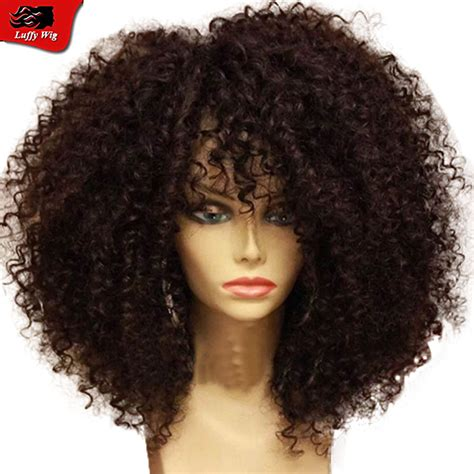 skull cut baby curls for black hair afro kinky curly hair wig with baby hair virgin brazilian
