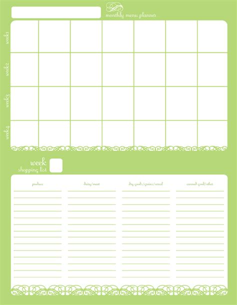 printable planner free download monthly menu planner free download