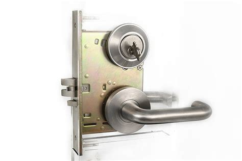 Security Door Locks by Stainless Steel Lever Handle On High Security Door