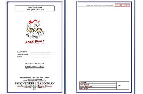 template cover buku word buku tugas siswa nizal