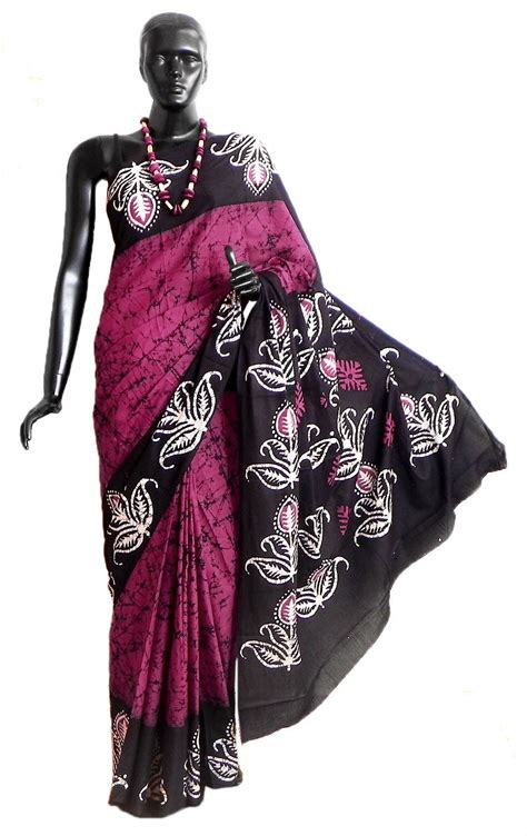 Batik Magenta by Batik Print Magenta Saree With Black And White Border And