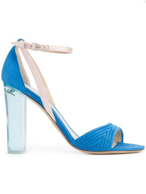 clear heel sandals lhuillier clear heel sandals in blue lyst
