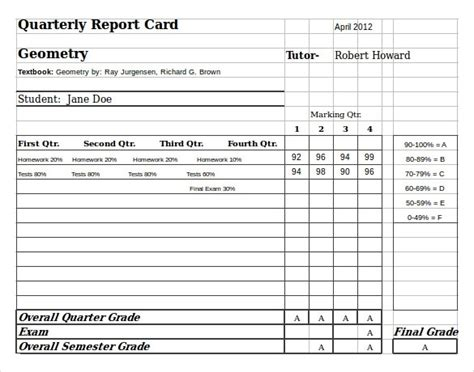 middle school report card template free student report card template resume builder