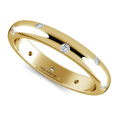wedding rings inset diamond wedding ring in yellow gold 3mm