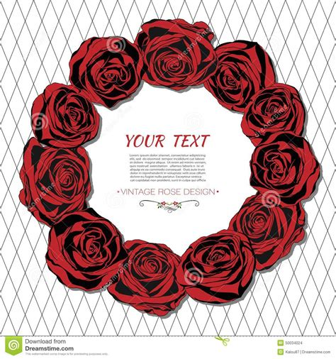 vintage card with a round frame of red roses stock vector