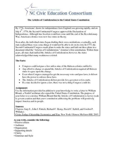 Articles Of Confederation Worksheet by Articles Of Confederation Worksheet Lesupercoin