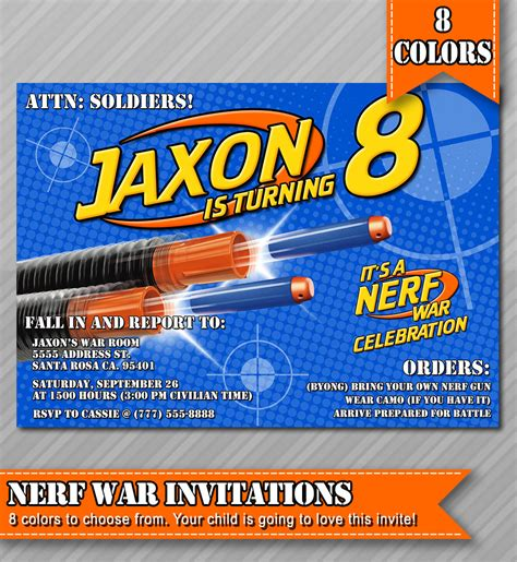 Nerf Party Invitations Nerf Wars Invitations By Wolcottdesigns Nerf Invitation Template Free