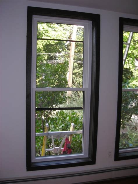 Which Benjamin White To Match Vinyl Windows - white windows with stained wood trim and sills