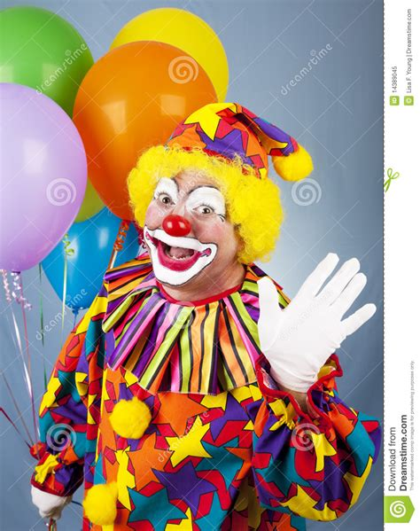 Clown L by Circus Clown Waves Hello Royalty Free Stock Photo Image