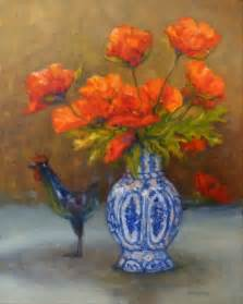 daily painting projects poppies with blue vase