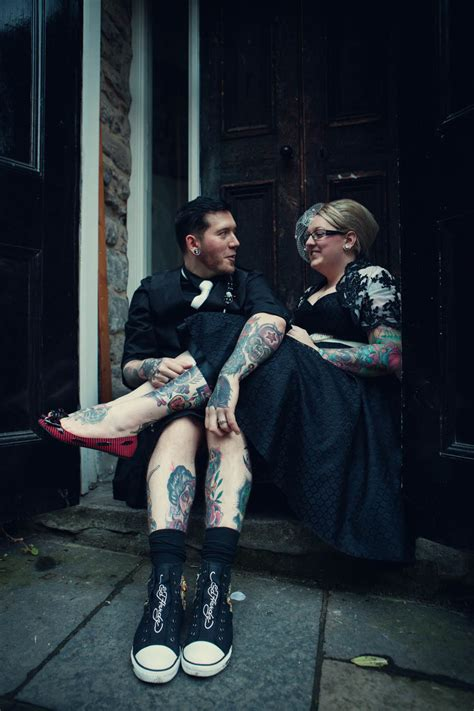 tattooed couple wedding tattoos jagermeister a black wedding dress corrinne