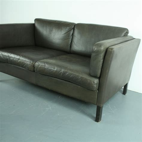 style brown leather sofa vintage mogensen style 2 seater brown leather sofa