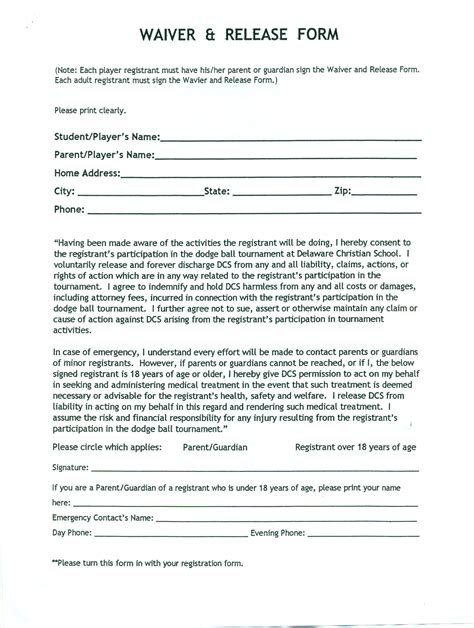 release waiver template free printable documents
