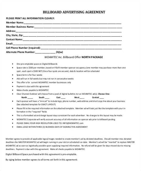 advertising contracts templates advertising contract templates 7 free word pdf format