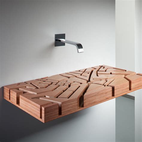wood bathroom sink sculptural wooden water map sink inspired by london map digsdigs
