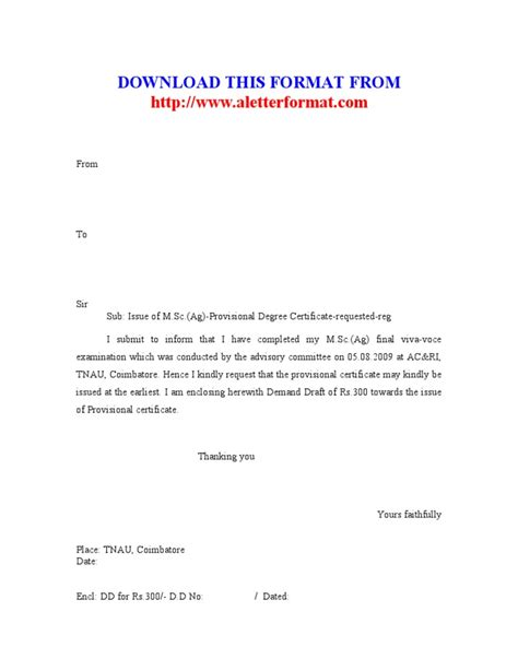 Request Letter Format For Degree Certificate Provisional Certificate