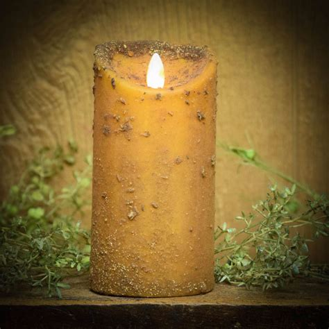 Look That Candles On by Real Look Flameless Battery Timer Candle Mustard Herbal