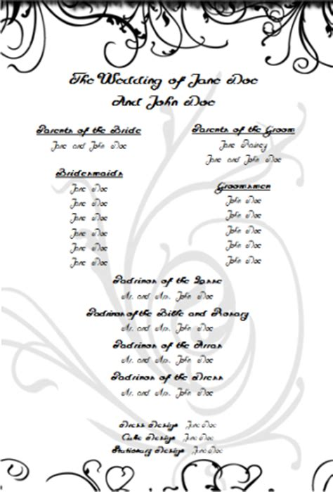 wedding program templates free printable wedding program