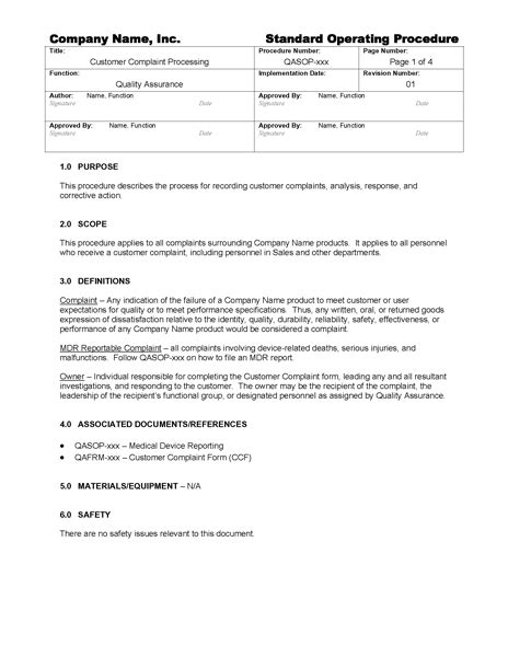 Customer Complaint Processing Gmpdocs Com Customer Service Sop Template