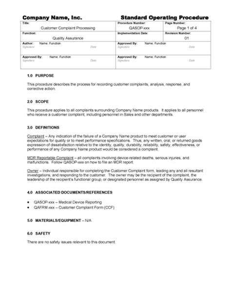 customer complaint procedure template customer complaint processing gmpdocs