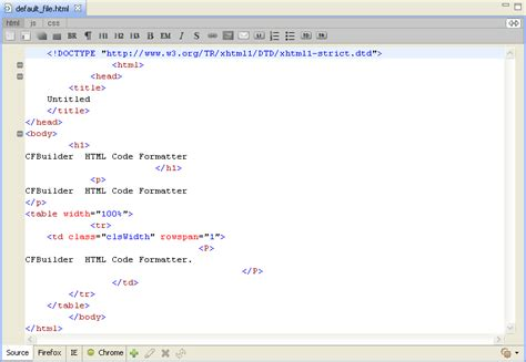 format html xcode coldfusion builder using html code formatter