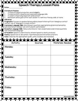 speech therapy lesson plan template weekly or monthly