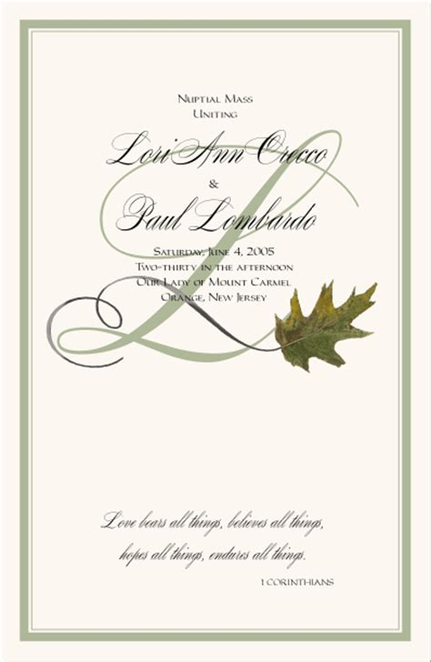 wedding program cover templates fall wedding programs autumn theme wedding programs fall