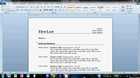 how to make a resume on word 2010 how to write a basic resume in microsoft word 2010