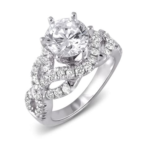 14k white gold crossover pave engagement ring