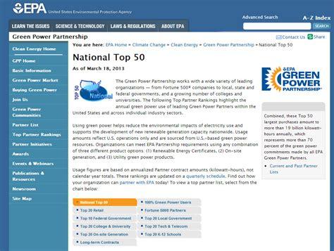 national top 100 green power partnership us epa epa national top 50