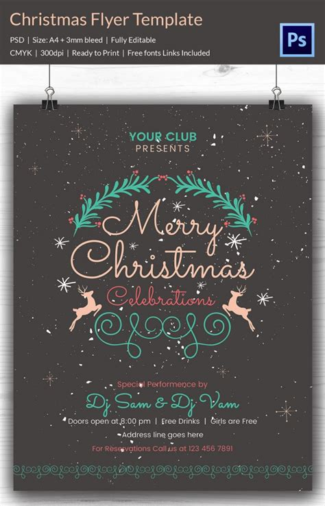 60 Christmas Flyer Templates Free Psd Ai Illustrator Doc Format Download Free Premium Merry Flyer Template Free