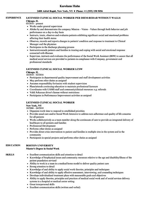 licensed social worker resume sle licensed social worker resume cover letter sles