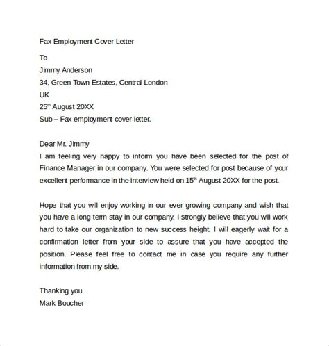 cover letter template fax free