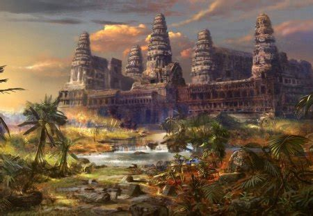 temple fantasy abstract background wallpapers