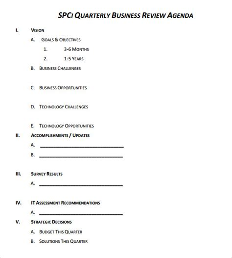 7 Business Review Sles Sle Templates Quarterly Review Template