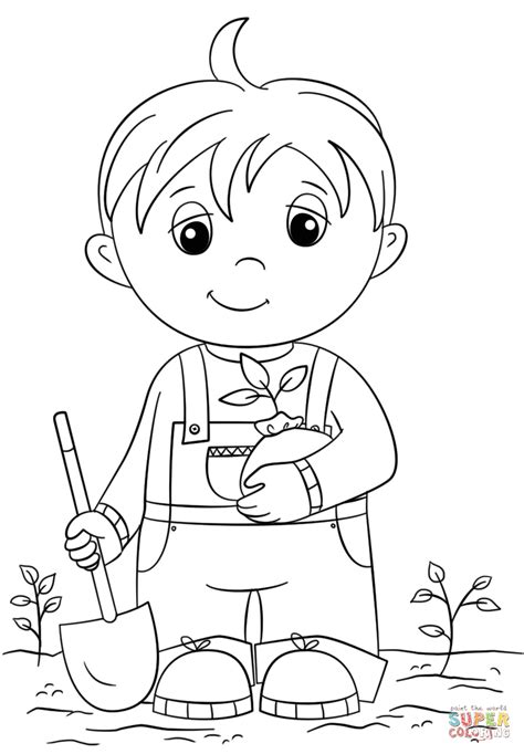 click the cute little boy holding seedling coloring pages